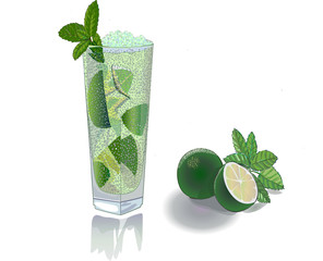 Lime and fresh juice from lime
