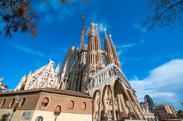 The Cathedral of La Sagrada Familia against blue sky