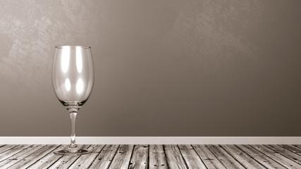Empty Wine Glass on Rustic Wooden Floor