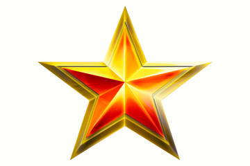 three golden star award isolated on white background top view close