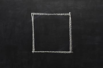 Square drawn with chalk on blackboard
