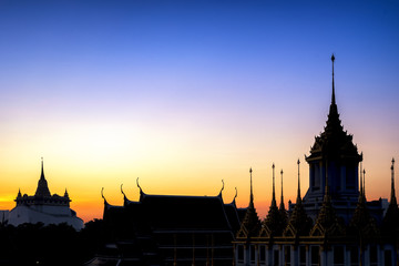 Golden Mount Temple twilight view, Travel Landmark of Bangkok Thailand.