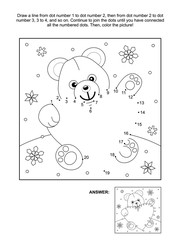 Valentine's Day themed connect the dots picture puzzle and coloring page with teddy bear and heart. Answer included.