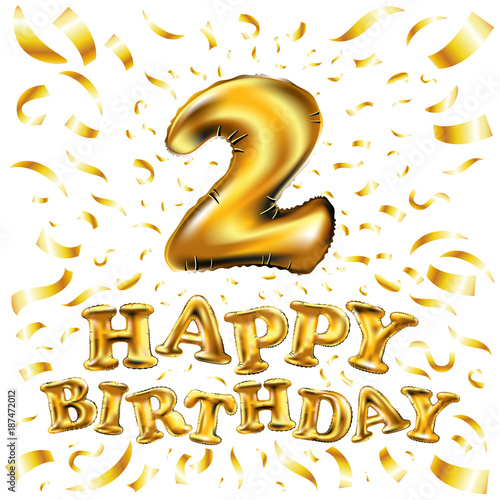 Happy Birthday Balloon Number 2 Two Realistic 3D Isolated Gold Helium Abc Alphabet Golden