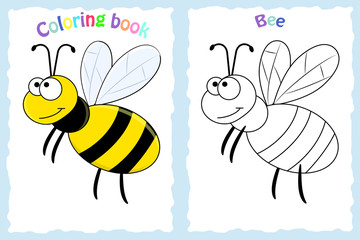 Coloring book page for preschool children with colorful bee and sketch to color.