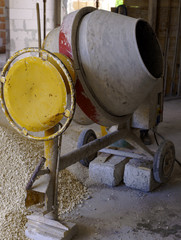 Concrete Mixer Work on Construction Sites and Knead Concrete