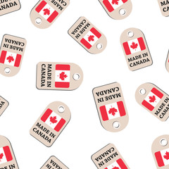 Hang tag made in Canada with flag seamless pattern background. Business flat vector illustration. Manufactured in Canada symbol pattern.