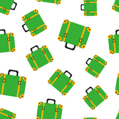 Suitcase seamless pattern background. Business flat vector illustration. Case for tourism, journey, trip, tour, voyage, summer vacation symbol pattern.