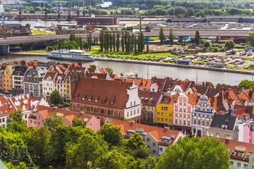 Obraz Szczecin z lotu ptaka. Stare miasto i kamienice przy Rynku - fototapety do salonu