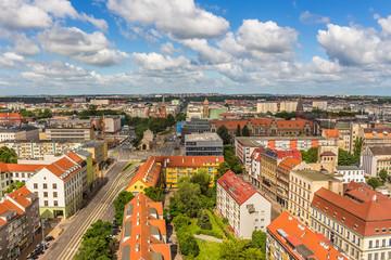 Obraz Szczecin - krajobraz miasta z lotu ptaka. Panorama miasta - fototapety do salonu