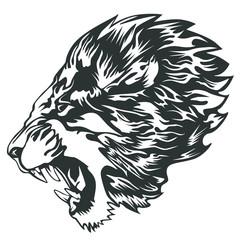 Lion head white tattoo