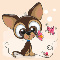 Greeting card Puppy with flower