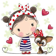 Cute Cartoon Puppy and a Girl
