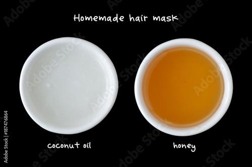 Homemade Hair Mask Made Out Of Coconut Oil And Honey Stock Photo