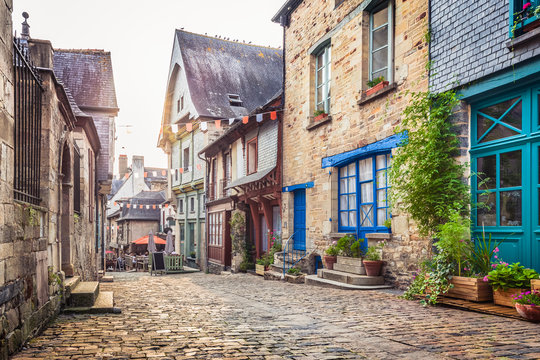 Charming street scene in an old town in Europe at sunset