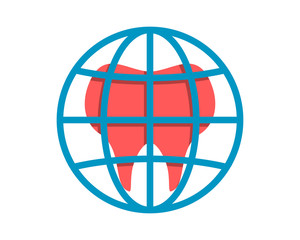 pink dental dentist tooth teeth globe image vector icon