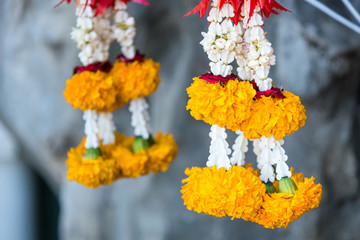 Flower garland in the Temple.Thailand.
