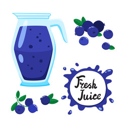 Juice with blueberry in glass jug, vector cartoon card