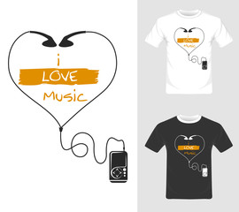 I love music vector graphic. T-shirt graphic design illustration