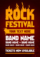 vector illustration rock festival party flyer design template with text and flames