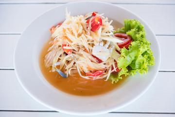 Papaya salad is made from fresh and clean crab crab.Thailand.