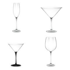Set of cocktail glasses for alcohol