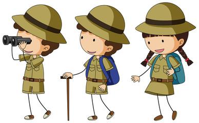 Three kids in scout uniform