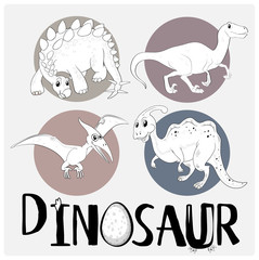 Four types of dinosaurs on white poster