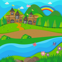 Background scene with brown castle by the river