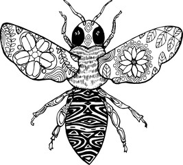 Sentangle style. Black and white illustration of a bee.