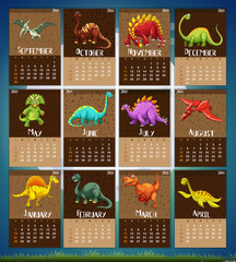 Calender template with 12 dinosaurs
