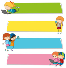 Banner templates with kids on different devices