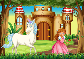 Scene with princess and unicorn