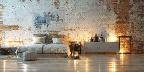 panorama vintage bedroom in front of industrial brick wall - bed in altem fabrik loft Wall mural