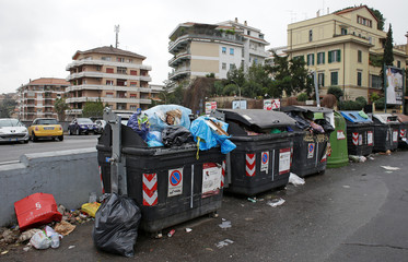 Garbage bins are seen in Rome