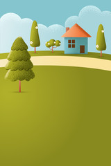 House on hill Vector texture style concept illustration.