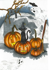 Halloween illustration with big pumpkins and bats