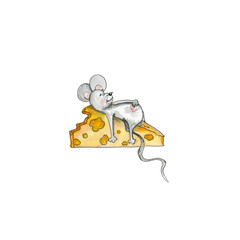 Mouse with big piece of cheese, clipart illustration
