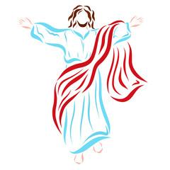 Revived Jesus Christ ascending to Heaven