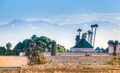 Ruins of El Badi Palace with the Atlas mountains in the background, Marrakech, Morocco