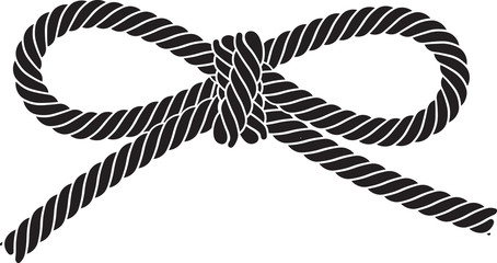 Black vector rope bow isolated on a white background.
