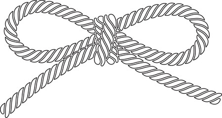 Outlined vector rope bow isolated on a white background.