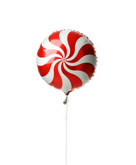 Single red spiral metallic candy lollipop balloon for birthday party