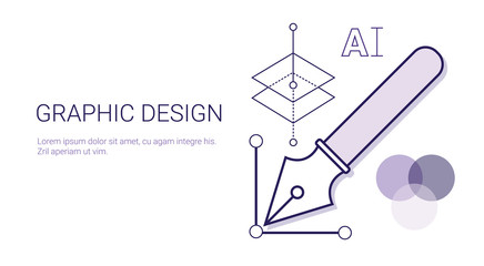 Graphic Design Business Concept Web Banner With Copy Space Vector Illustration