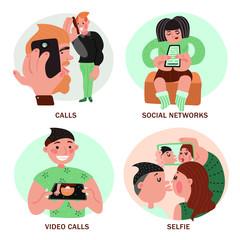 People With Smartphones Design Concept