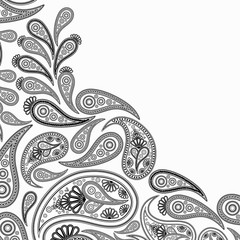 Paisley black and withe background,  floral abstract design pattern, indian art ornament.