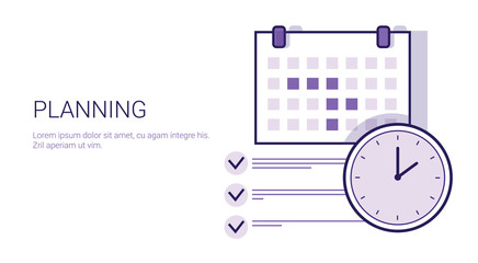 Business Planning Concept Corporate Time Management Web Banner With Copy Space Vector Illustration