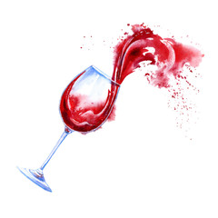 Glass of a red wine and splashes.Picture of a alcoholic drink.Watercolor hand drawn illustration.White background.