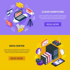 Cloud Computing Isometric Banners