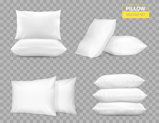 Realistic White Pillows Transparent Set